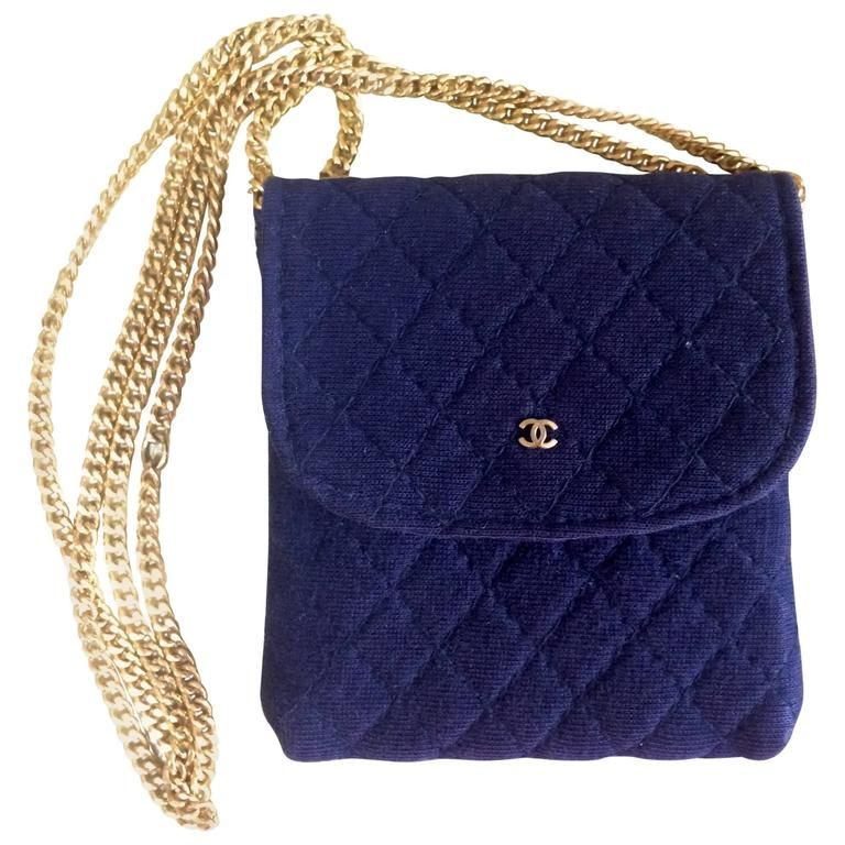 219e080483c7 Vintage Chanel navy quilted jersey fabric mini pouch, coin purse, long  necklace. 1990