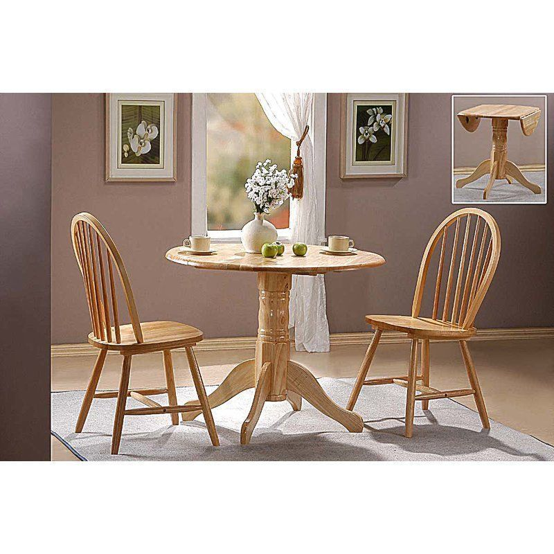 Round Dining Table Set 2 Chairs Wooden Foldable Rubberwood Kitchen Prepossessing 2 Chair Dining Room Set Inspiration Design
