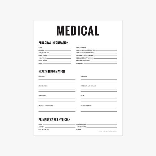 Free! Medical Printable By Fine & Dandy Paperie