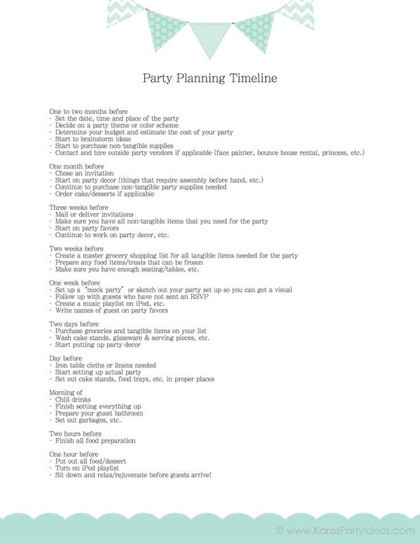 Free Party Planning Timeline Checklist Via KaraS Party Ideas