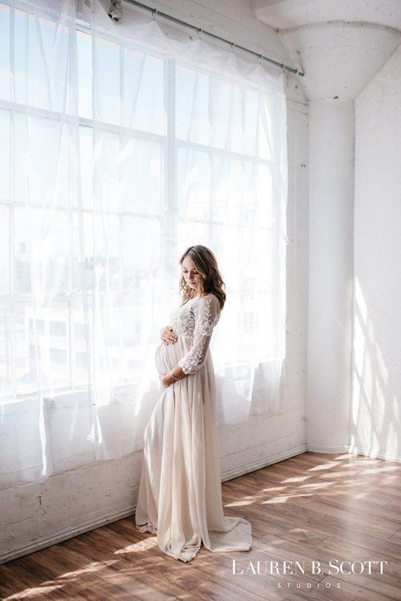 5f1ddd98f0f Lace Maternity Gown Photography Long Maternity Dress for Photo Shoot  Maternity Wedding Baby Shower D