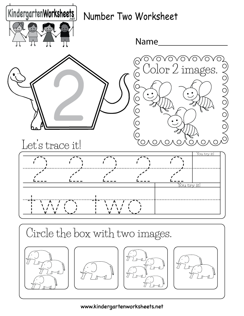 This is a number 2 activity worksheet. Kids can trace the
