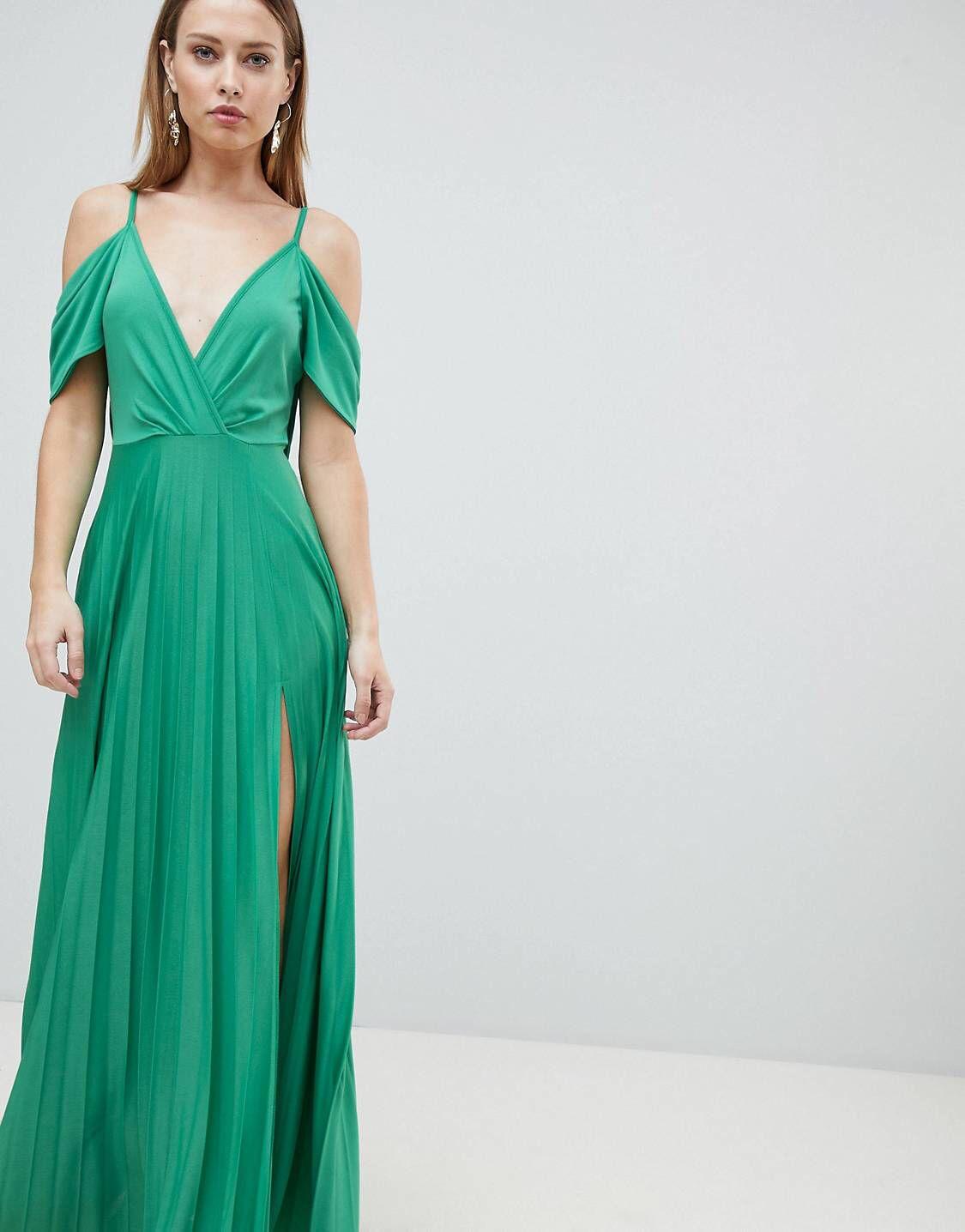 DESIGN Cold Shoulder Cowl Back Pleated Maxi Dress | Wedding
