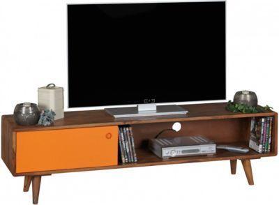 Sheesham Massivholz TV-Board mit 1 Tür 140x40x35 cm braun/orange ...