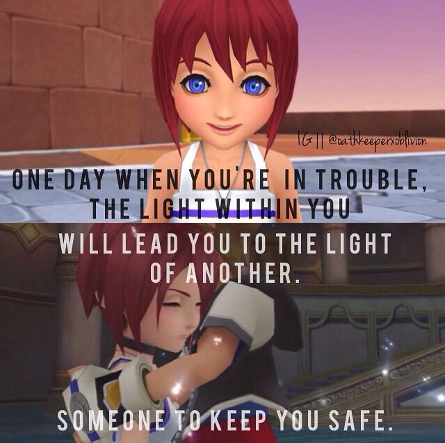 Lol ironic much? Kairi's heart sleeps inside Sora for most of the KH 1 game until you get to Hollow Bastion, one of the last worlds #KingdomHearts