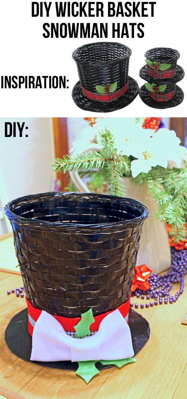 Punk Projects: DIY Wicker Basket Snowman Hat Decor Good Ideas