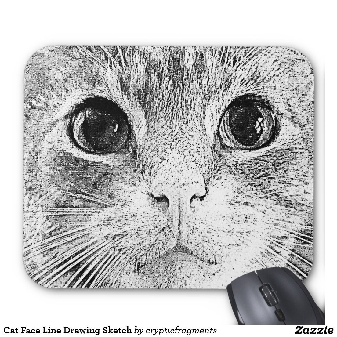 Cat Face Line Drawing Sketch Mouse Pad