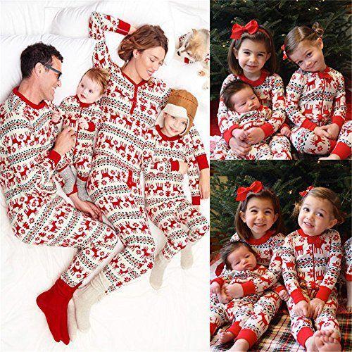 76b7042b71a49 Noël Enfants Maman Papa Deux pièces Set Adorable Famille Pyjama Christmas  Vêtements de nuit