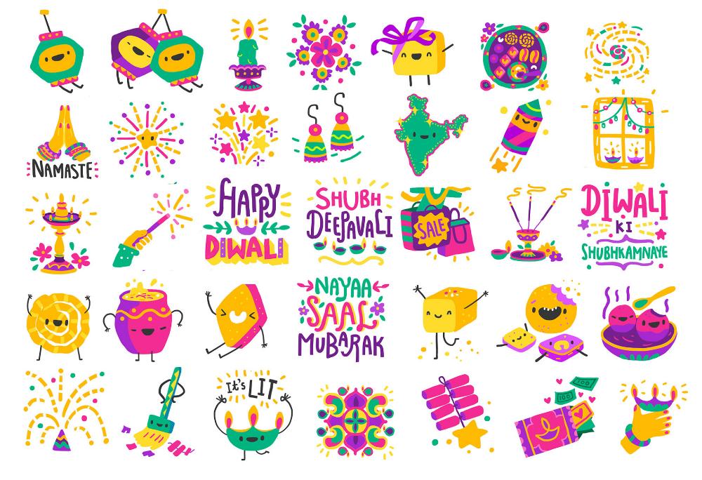 Google Diwali Stickers on Behance Stickers