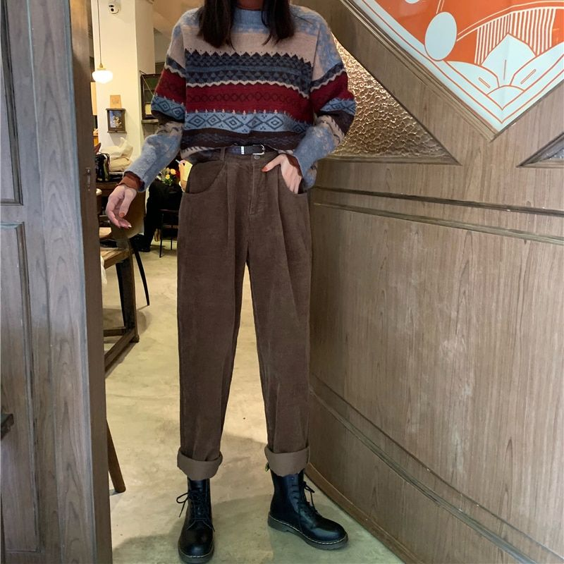 Photo of Autumn and winter 2019 Vintage corduroy jeans high waist jeans wide-leg pants women's casual pants