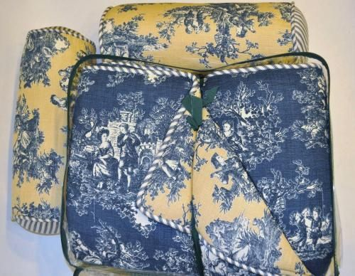 Toile King Bedding: NEW! Waverly Home Blue Yellow Toile Victorian King
