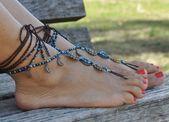 MOON MANDALA BAREFOOT sandals, Foot jewelry, Hippie sandals, Toe anklet, Beaded crochet baref... 3