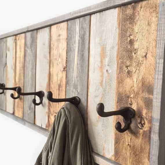 Entryway Organizer Coat Rack Modern Coat Hook Rustic Coat Rack Bathroom Hooks Reclaimed Wood In 2020 Rustic Coat Rack Diy Coat Rack Reclaimed Wood Wall Art