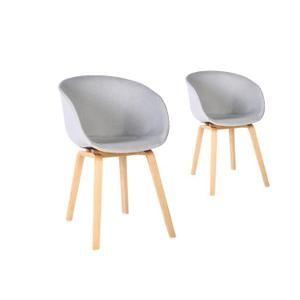 lot de 2 chaises scandinaves olly avec coque tissu et pieds en htre couleur - Chaises Scandinaves Couleur