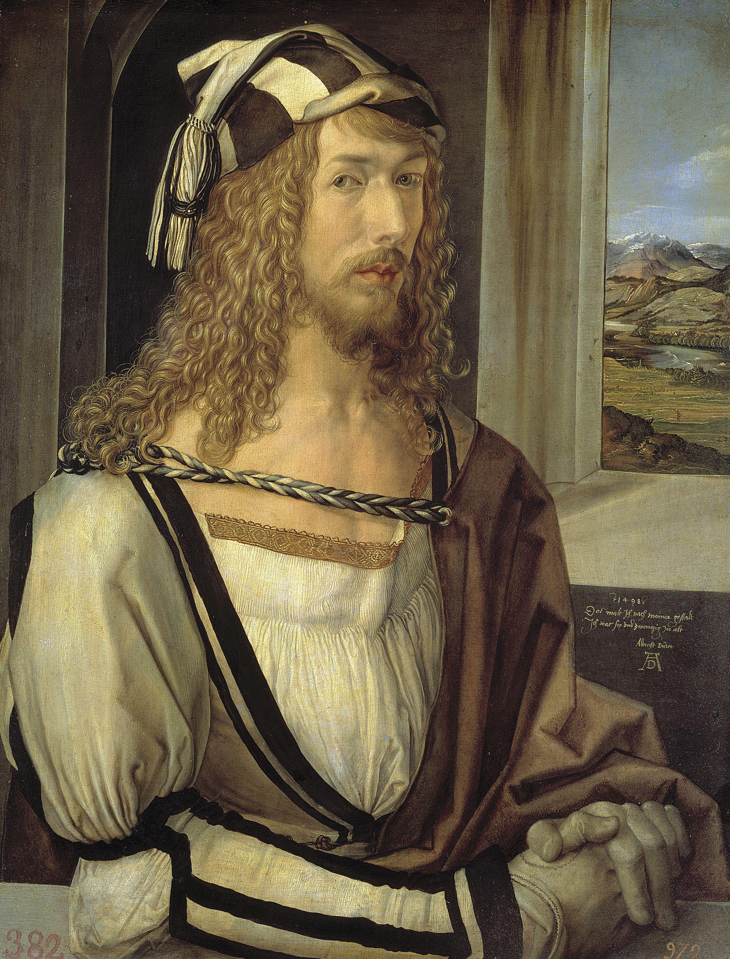 Albrecht Dürer, (1471–1528), Selbstbildnis mit Landschaft, 1498, Mischtechnik auf Holz,  52 × 45 cm; Madrid, Museo del Prado, Spanien