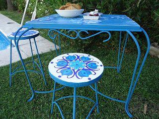Bancos Y Mesa De Jardin Pintados A Mano Arte En Muebles Muebles
