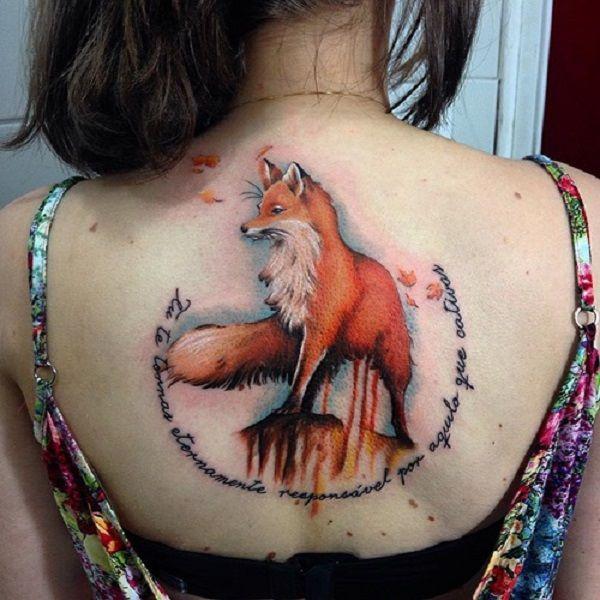Fox With A Quote On Back Of Her Quotes Are Often Coupled With The Fox Tattoos Many Women Will Love To Include This K Fox Tattoo Design Fox Tattoo Back Tattoo