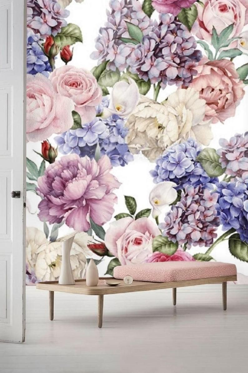 Removable wallpaper, floral wallpaper, floral wall mural