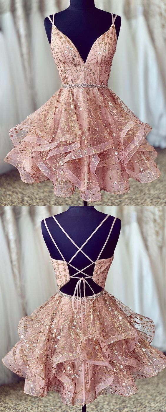 stunning pink short homecoming dresses, shiny sequined homecoming dresses, ball gown formal dresses for teens ML110