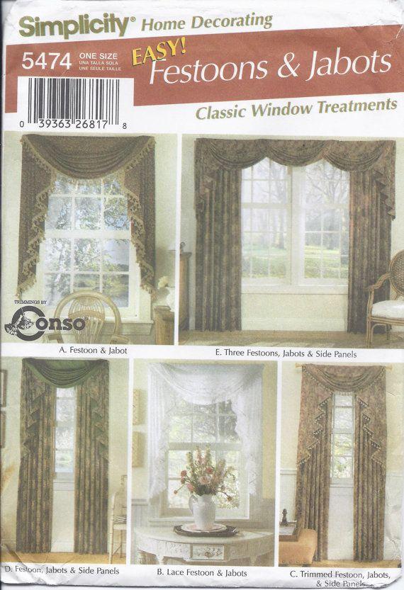 Simplicity Pattern 5474 Classic Window Treatments Festoons