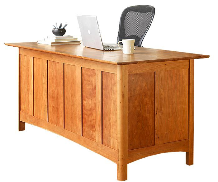 modern shaker executive desk this solid wood desk is shown in natural cherry with rounded
