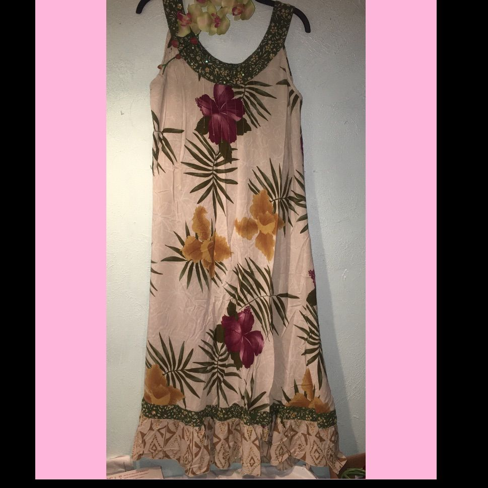 Ku De Ta Hawaiian Fabric Sequined Dress - Xl