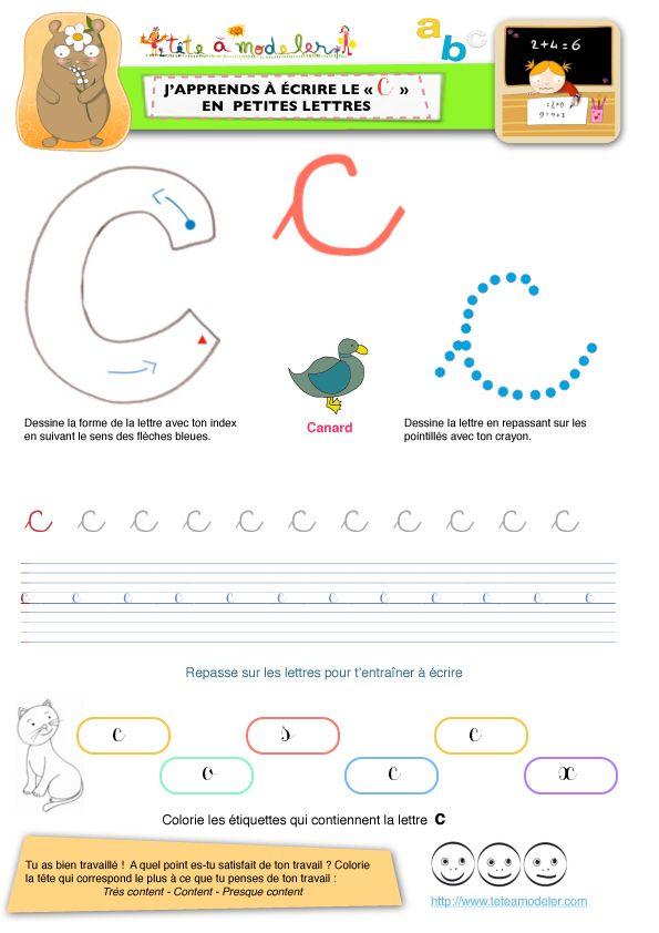Page Du C Pour Apprendre A Ecrire Le C En Minuscule Apprendre A Ecrire Lettre A Lettre Minuscule