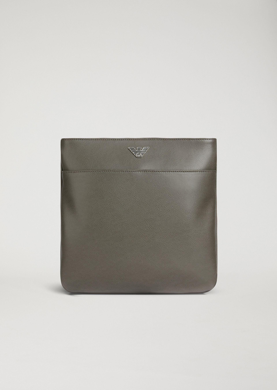 0f039d94b394b EMPORIO ARMANI BOARDED LEATHER FLAT MESSENGER BAG WITH METAL LOGO.   emporioarmani  bags  shoulder bags  leather  crossbody