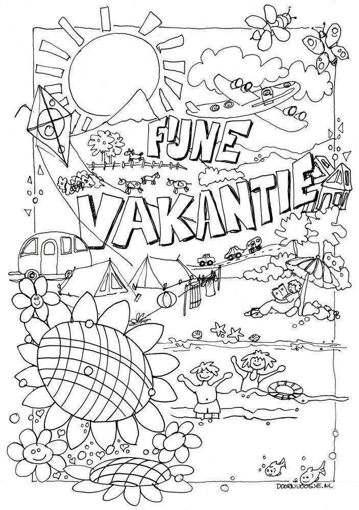 Kleurplaten Vakantie Groep 4.Fijne Vakantie Kleurplaat Vakantie Summer Crafts Summer