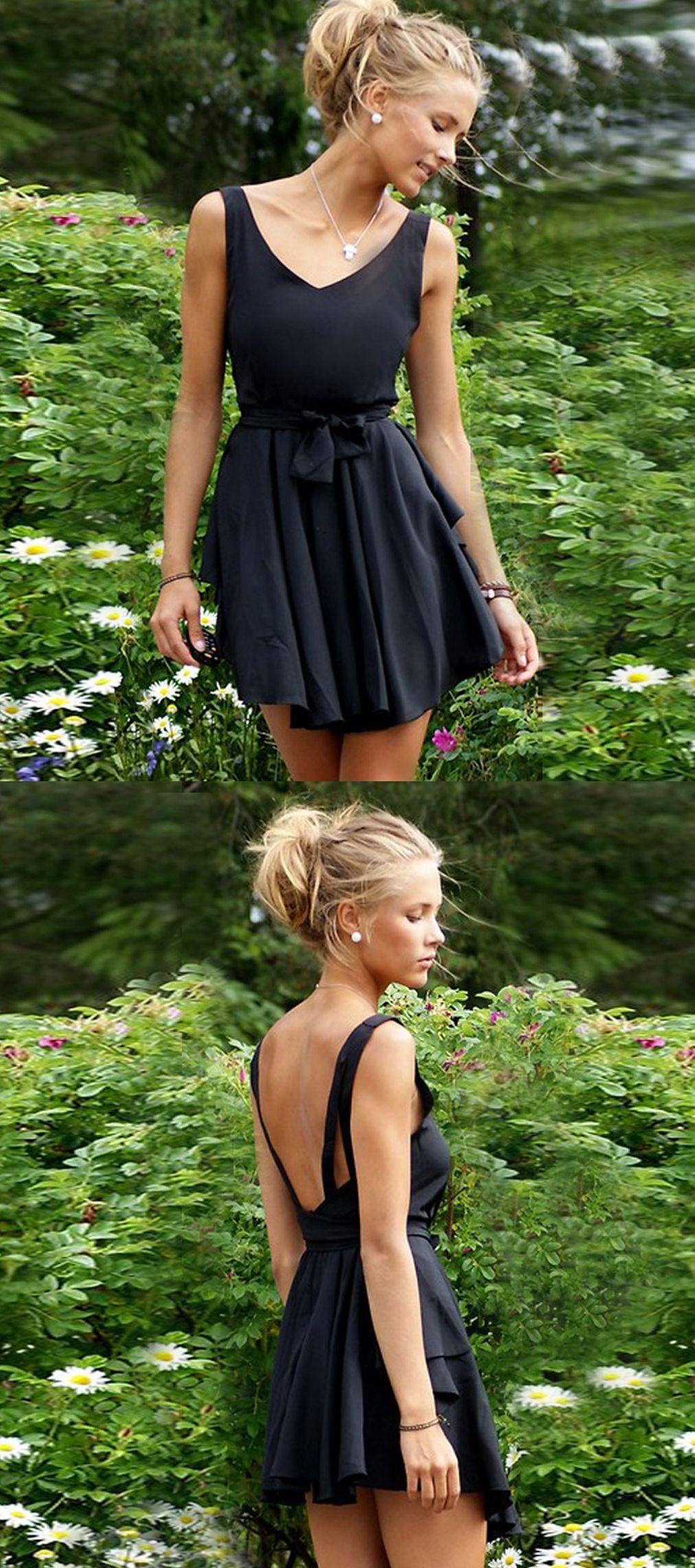 Aline vneck backless polyester little black dress with sash