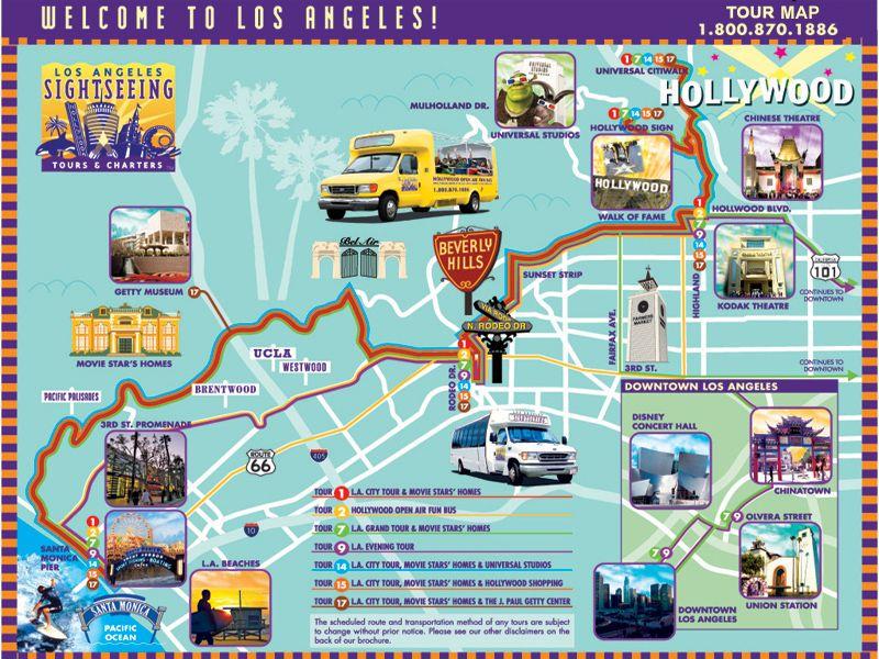 los angeles tourist guide map  Pesquisa Google  USA roadtrip
