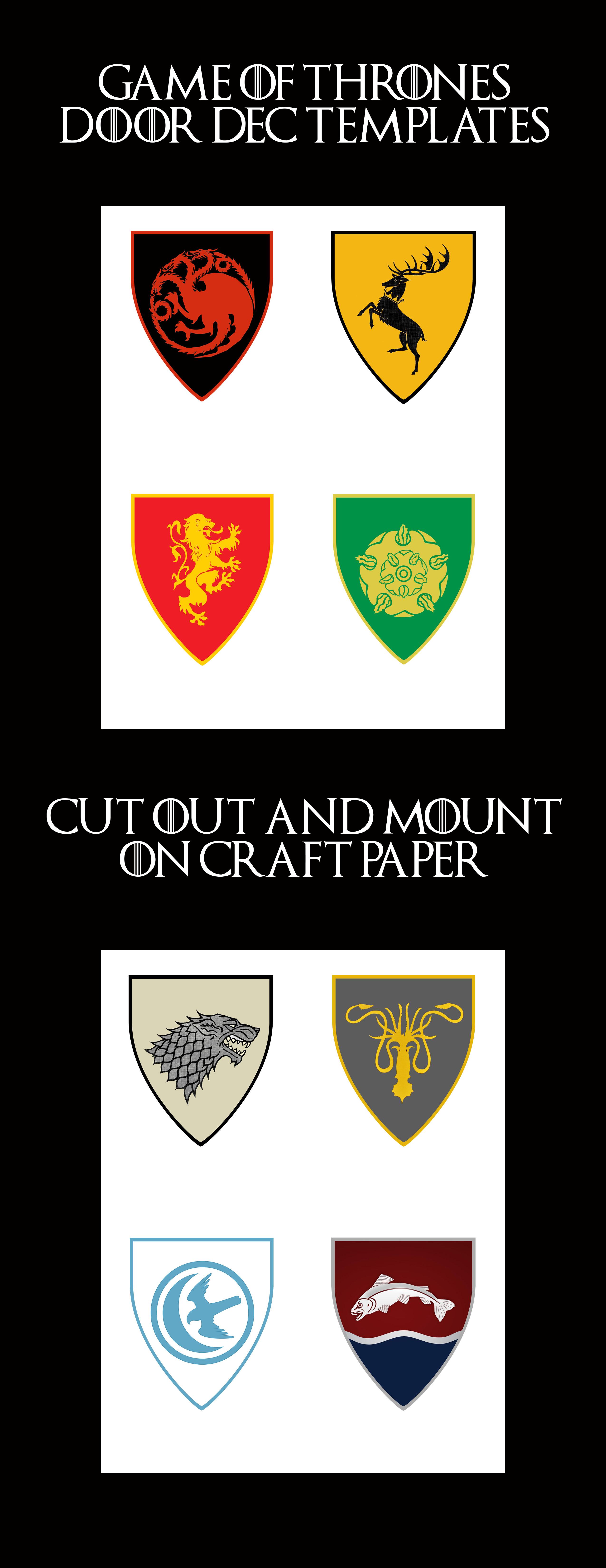 photo about Printable Door Decs Templates named Match of Thrones Home Crest Doorway Decs! Print and mount upon