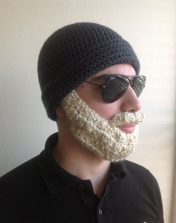 Handmade Crochet Beard Hat in Dark grey beanie hat with Blonde beard, women, kids, or babies all siz #crochetedbeards