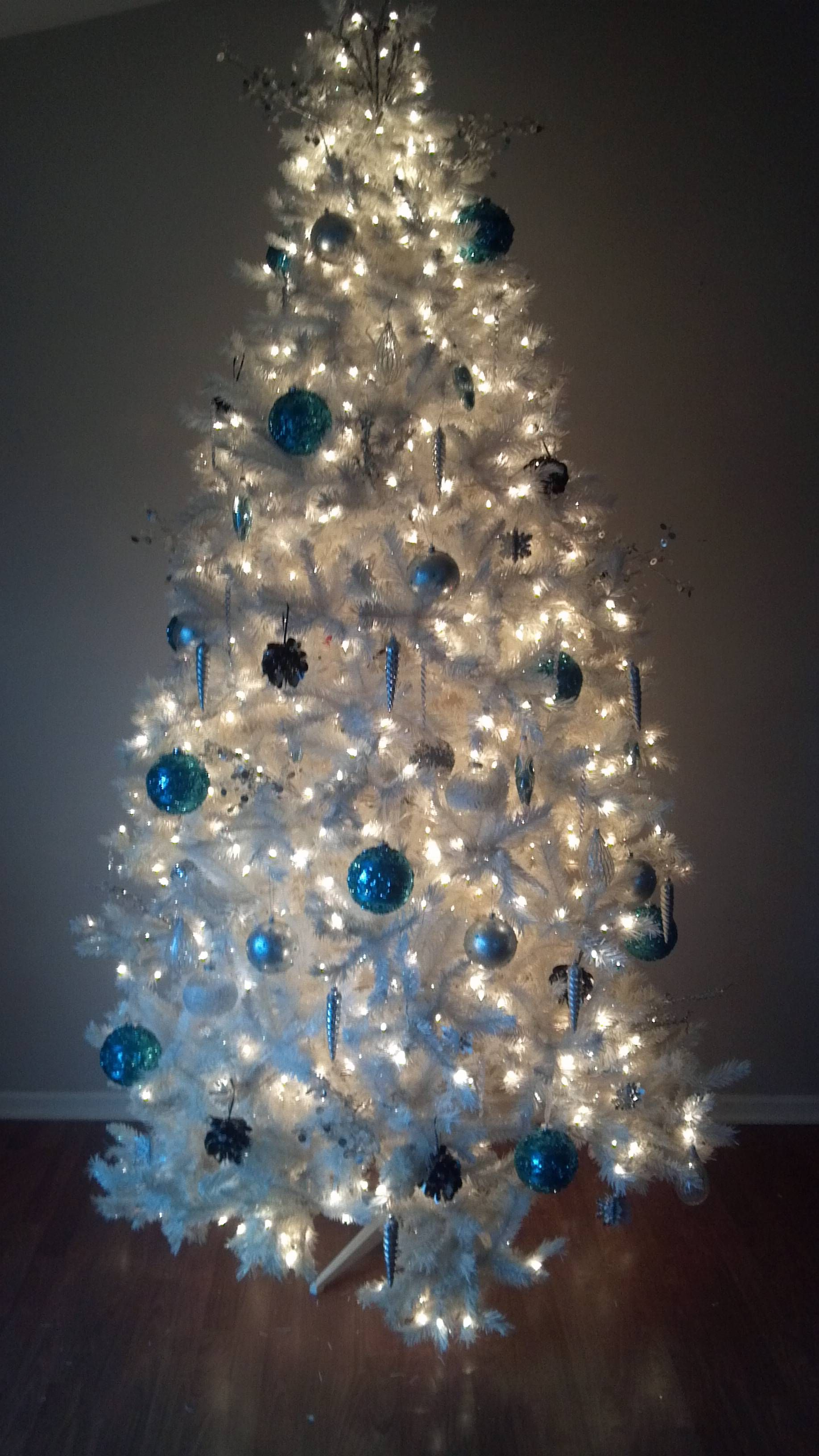 White Christmas Tree With Blue Ornaments