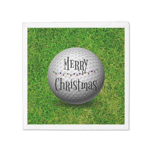 Christmas Sports Background.Merry Christmas Golf Ball On Grassy Background Paper Napkin