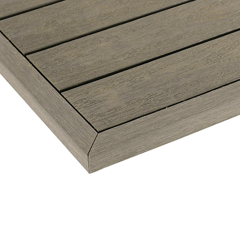 Newtechwood 1 12 Ft X 1 Ft Quick Deck Composite Deck Tile Outside Corner Fascia In Egyptian Stone Gray 2 Pie In 2020 Deck Tile Composite Decking Composite Wood Deck