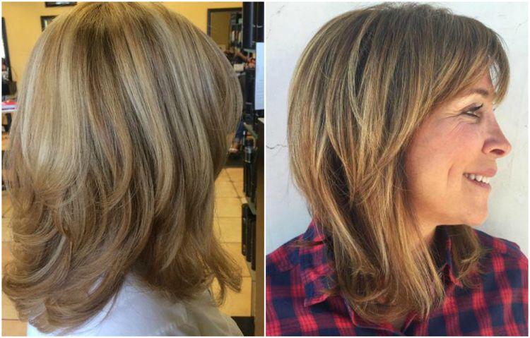 Frisurenvorschläge Ab 50 Mittellang Stufig Strähnchen Haare