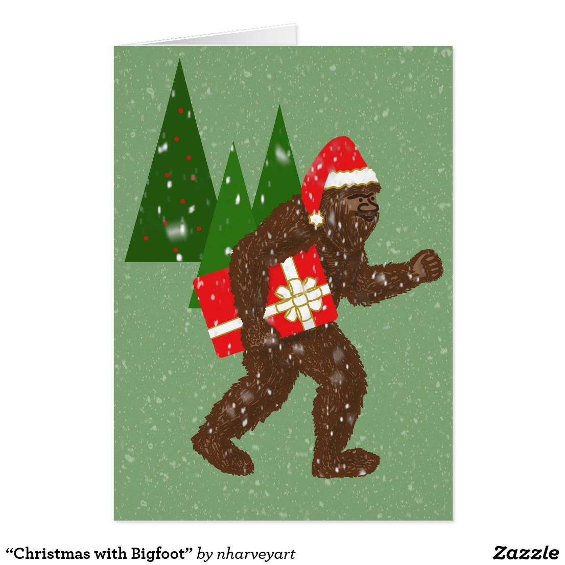 Christmas With Bigfoot Holiday Card Zazzle Com Holiday Design Card Holiday Cards Christmas Greeting Cards