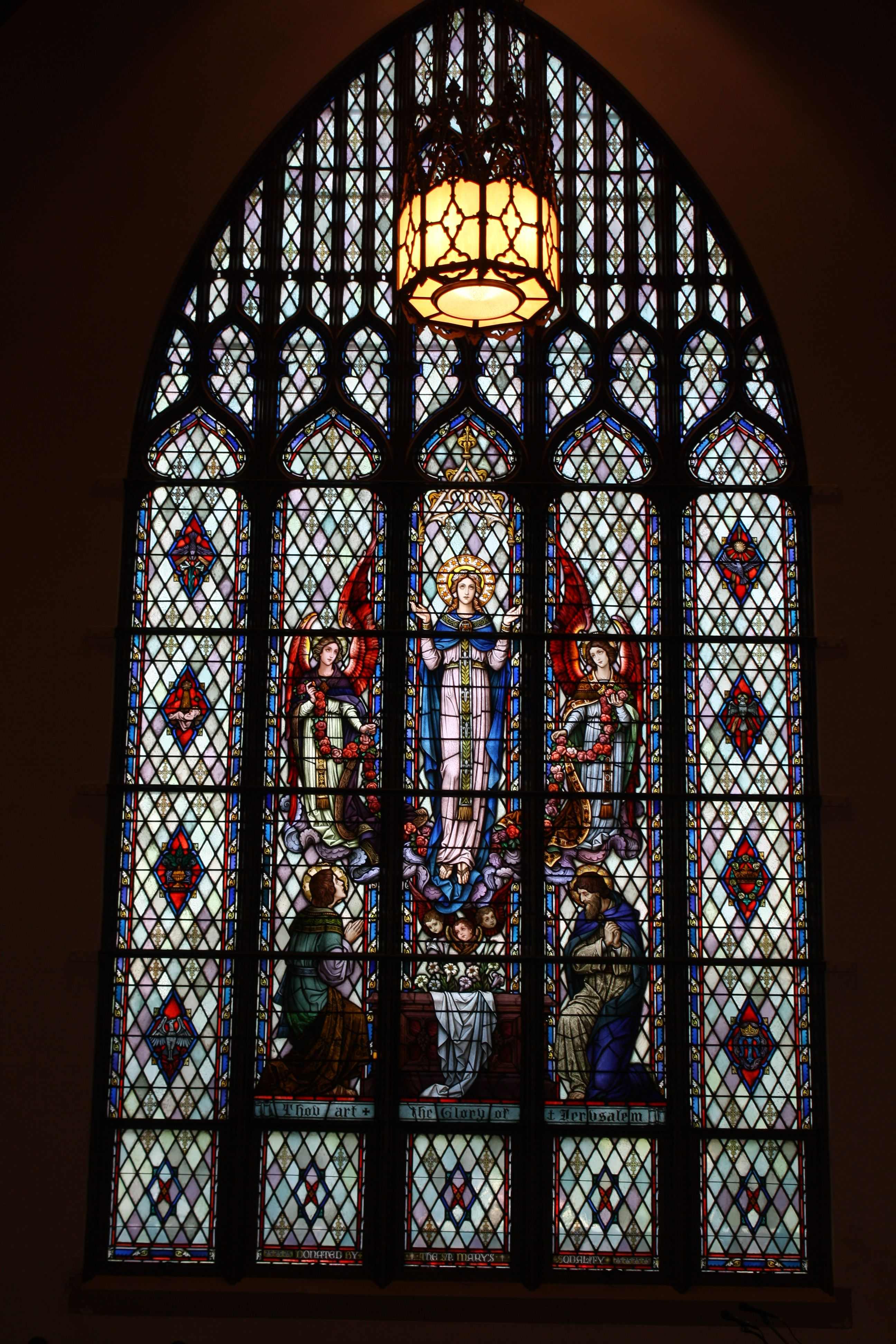 """The Glory of Jerusalem"" North large window in St. Bonifice Church Fort Smith, AR"