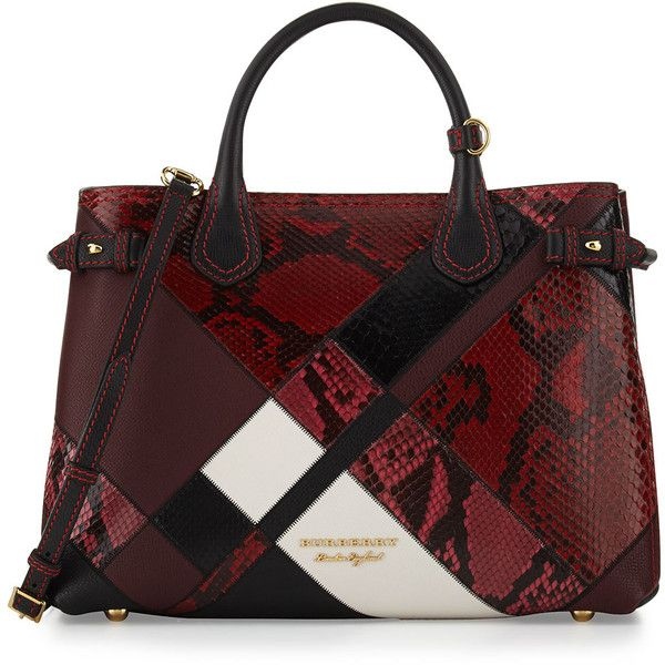 ef7d538ade Burberry Banner Medium Patchwork Python Tote Bag found on Polyvore  featuring polyvore