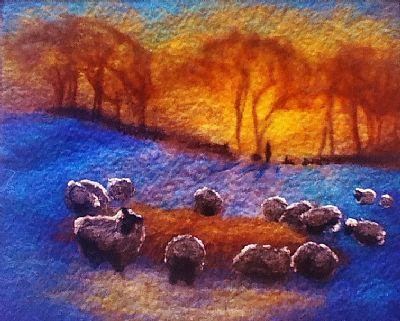 Evening Feast by Inverness based felt artist Sue Fraser