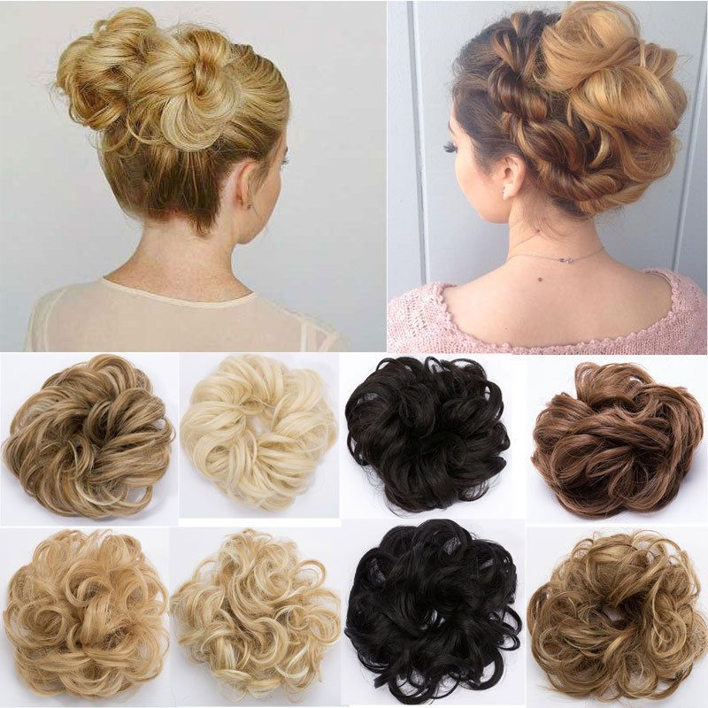 35g Real Curly Messy Bun Fake Scrunchie Hair Piece Extensions Updos