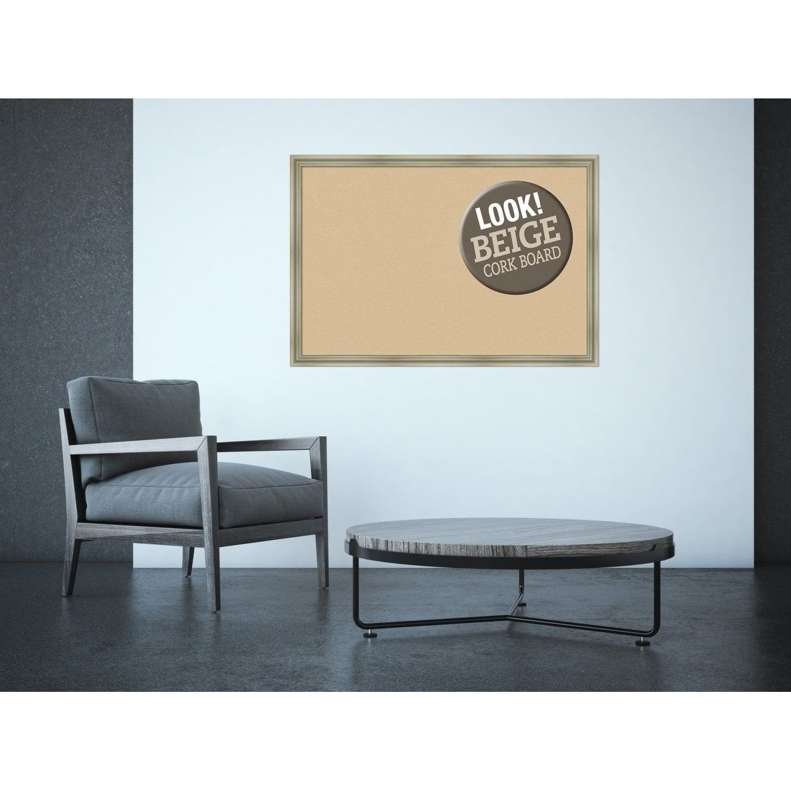 Amanti art framed beige cork board warm silver swoop extra large