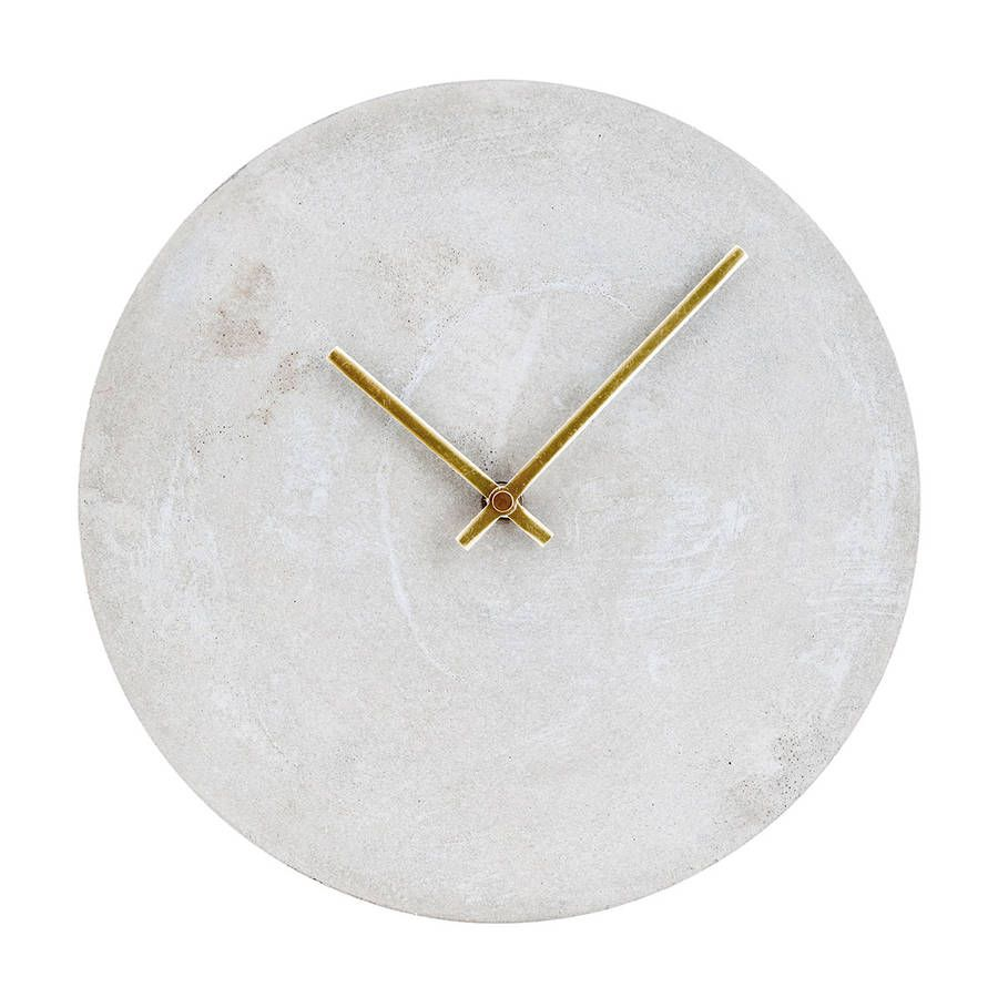 Concrete And Brass Clock By All Things Brighton Beautiful Wall Clock House Doctor Concrete Wall