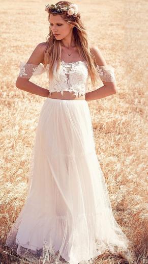2242d0577cc8 Boho Lace Off Shoulder Two Piece A-line Tulle Wedding Dress | Chic ...