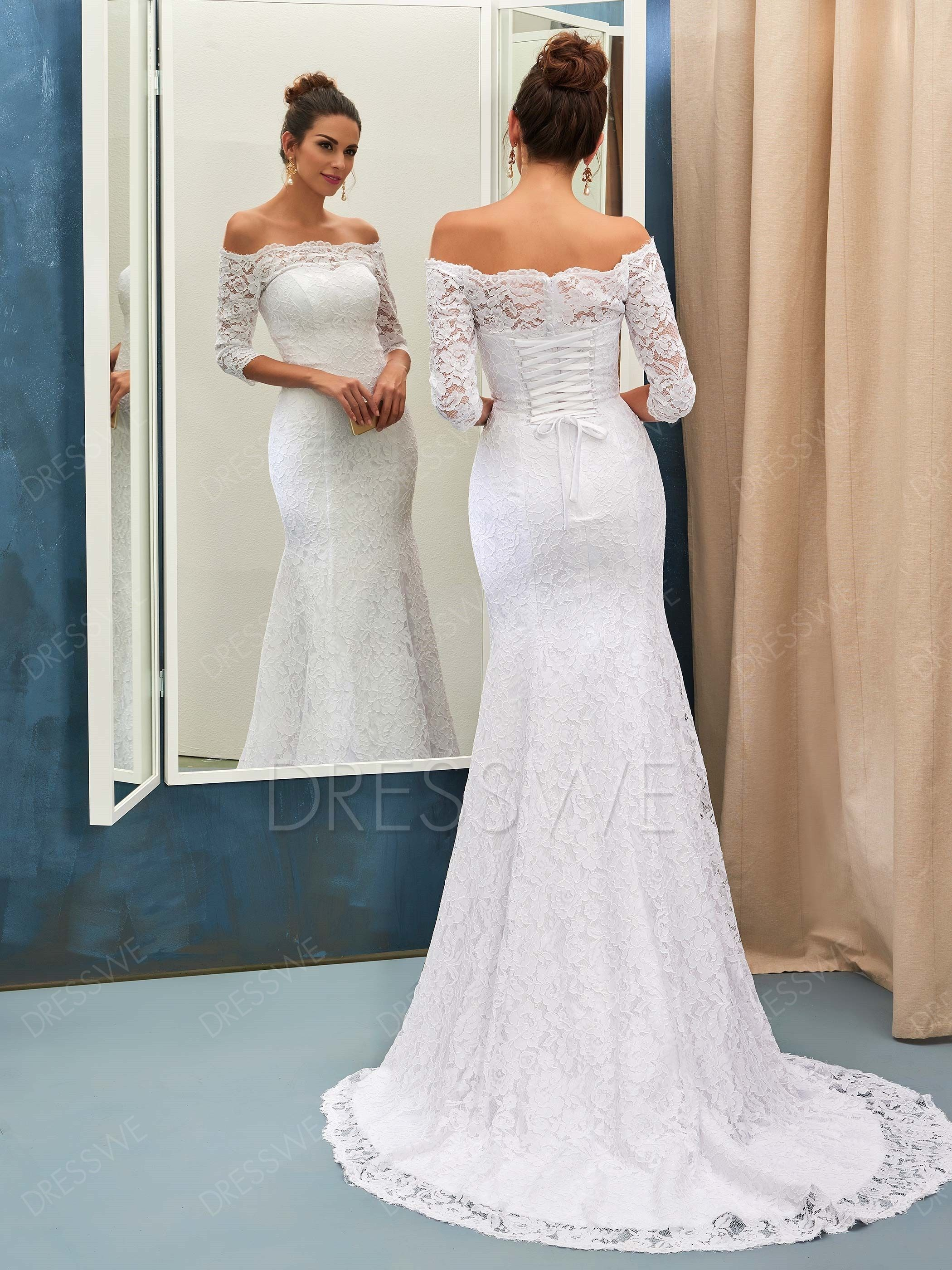 4bb74e102 Buy Stunning Off-The-Shoulder 3/4-Length Sleeves Mermaid Wedding Dress  Online, Dresswe.Com offer high quality fashion,Price: USD$181.16
