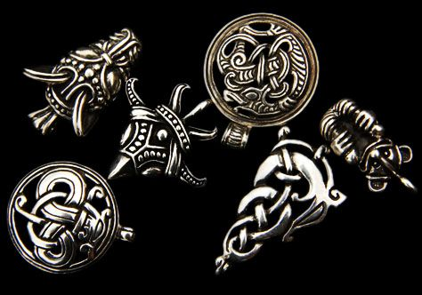 | Silver & bronze Viking pendants, dragon, wolf and raven jewelry