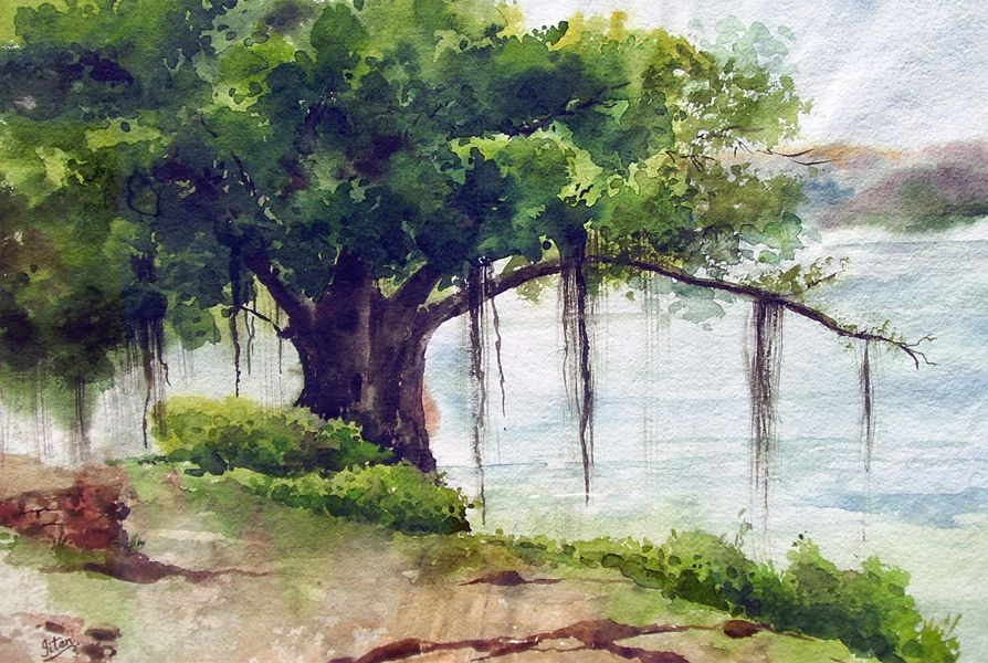 Indian artist jitendra sules watercolour paintings banyan tree indian artist jitendra sules watercolour paintings banyan tree fandeluxe Choice Image