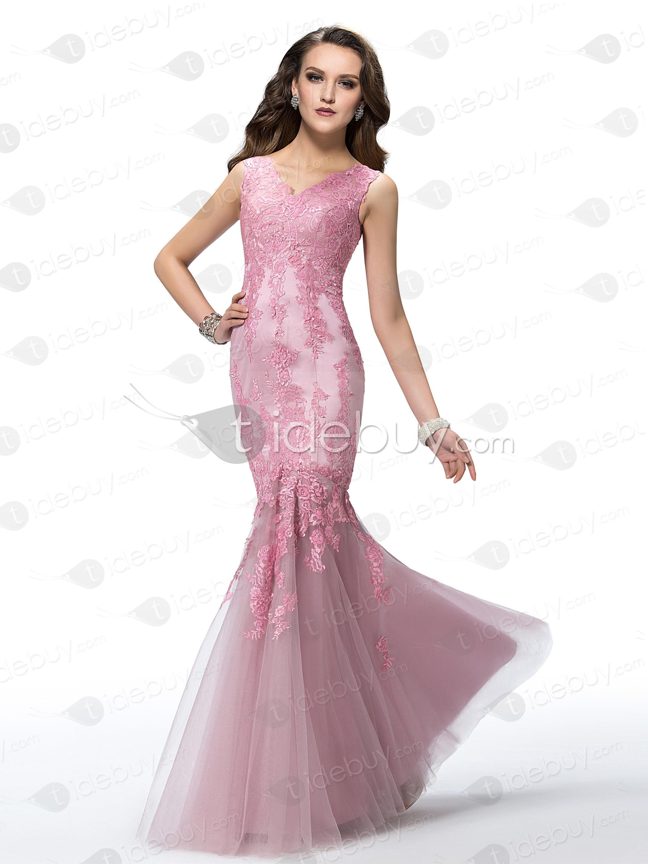 Spectacular Mermaid/Trumpet V-Neck Lace Floor-Length Evening Dress ...