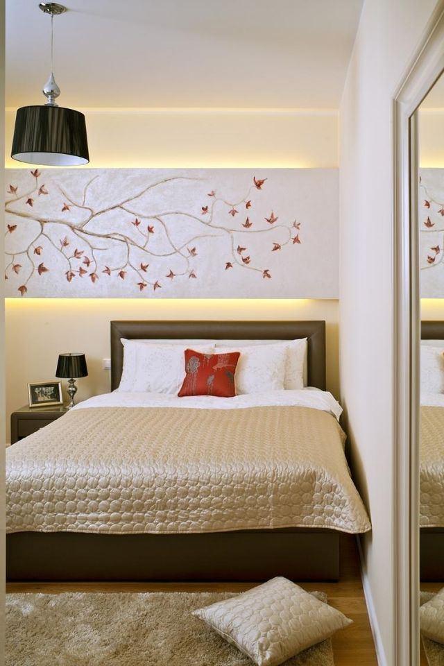 Lieblich Schlafzimmer Ideen Gestaltung Modern Beige Braun Indirekte Beleuchtung